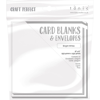 Tonic BRIGHT WHITE Craft Perfect 6 x 6 Card Blanks 9291e