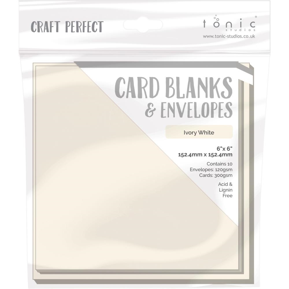 Tonic IVORY WHITE Craft Perfect 6 x 6 Card Blanks 9292e zoom image