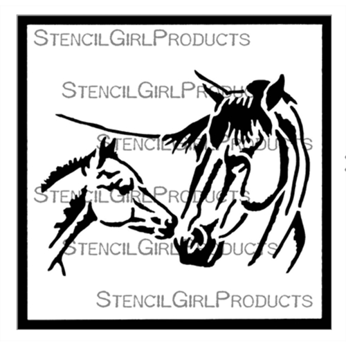 StencilGirl TOUCHING NOSES 4x4 Stencil m266 Preview Image