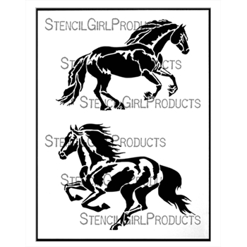 StencilGirl NORMAN AND  RUNNING HORSE 9x12 Stencil l735