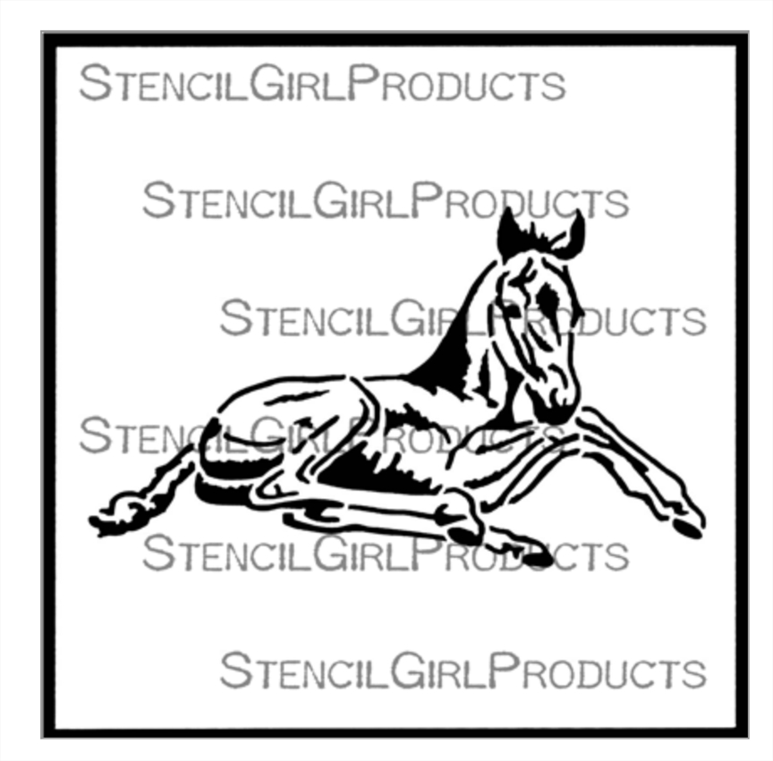 StencilGirl COLT OR FILLY RESTING 6x6 Stencil s713 zoom image