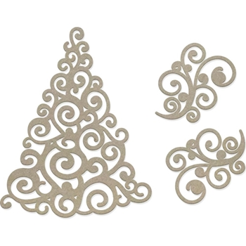 Couture Creations SWIRLING CHRISTMAS TREE Chipboard Naughty Or Nice co727147