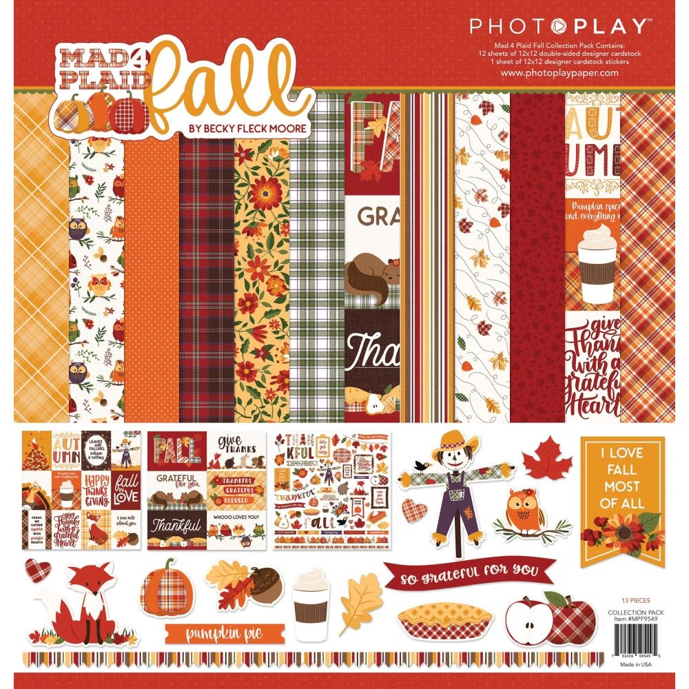 PhotoPlay MAD 4 PLAID FALL 12 x 12 Collection Pack mpf9549 zoom image
