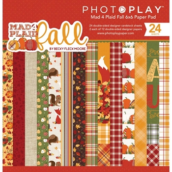 PhotoPlay MAD 4 PLAID FALL 6 x 6 Paper Pad mpf9551