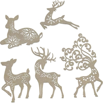 Couture Creations DASHER, DANCER, COMET, CUPID AND VIXEN Chipboard Naughty Or Nice co727146