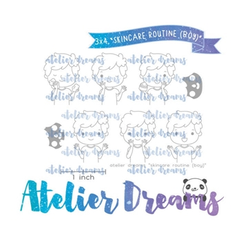 Atelier Dreams SKIN ROUTINE BOY Clear Stamp Set adg046b*