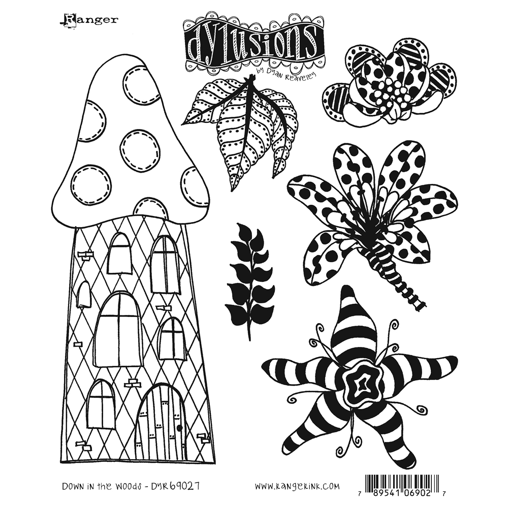 Dyan Reaveley DOWN IN THE WOODS Cling Stamp Set Dylusions DYR69027 zoom image