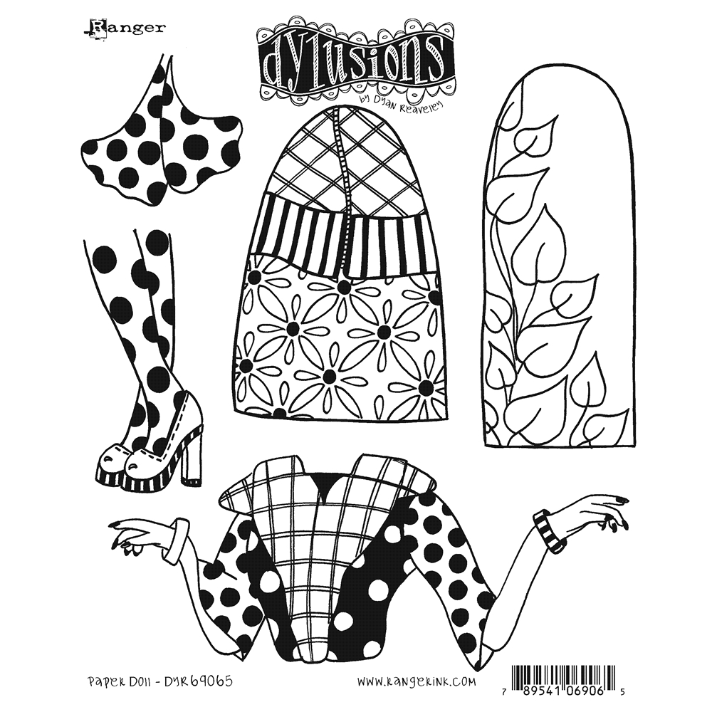 Dyan Reaveley PAPER DOLL Cling Stamp Set Dylusions DYR69065 zoom image