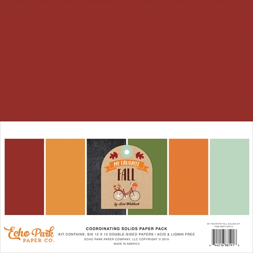 Echo Park MY FAVORITE FALL 12 x 12 Double Sided Solids Paper Pack mff187015 Preview Image