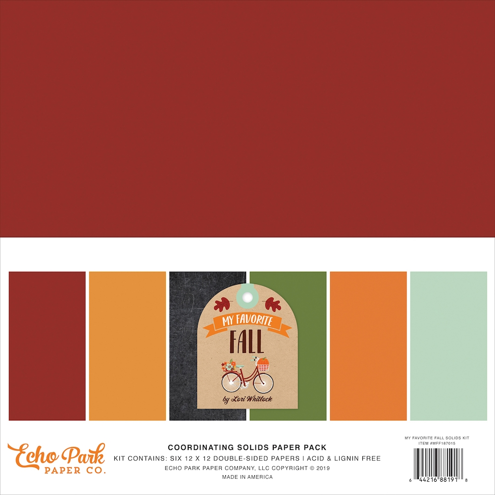 Echo Park MY FAVORITE FALL 12 x 12 Double Sided Solids Paper Pack mff187015 zoom image