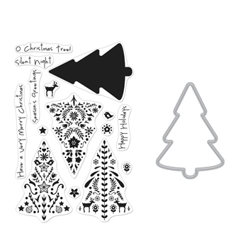 Hero Arts COLOR LAYERING NORDIC TREE Clear Stamp and Die Combo SB236