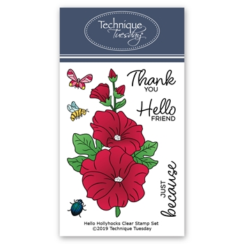 Technique Tuesday HELLO HOLLYHOCKS Clear Stamps 2800