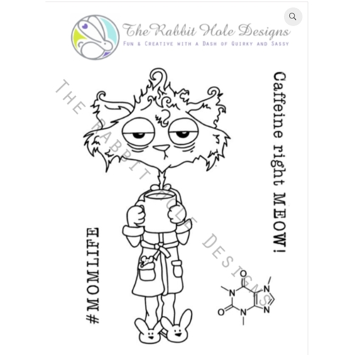 The Rabbit Hole Designs CAFFEINATED CAT Clear Stamps TRH 01 Preview Image