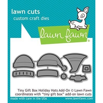 Lawn Fawn TINY GIFT BOX HOLIDAY HATS ADD ON Custom Craft Dies LF2052