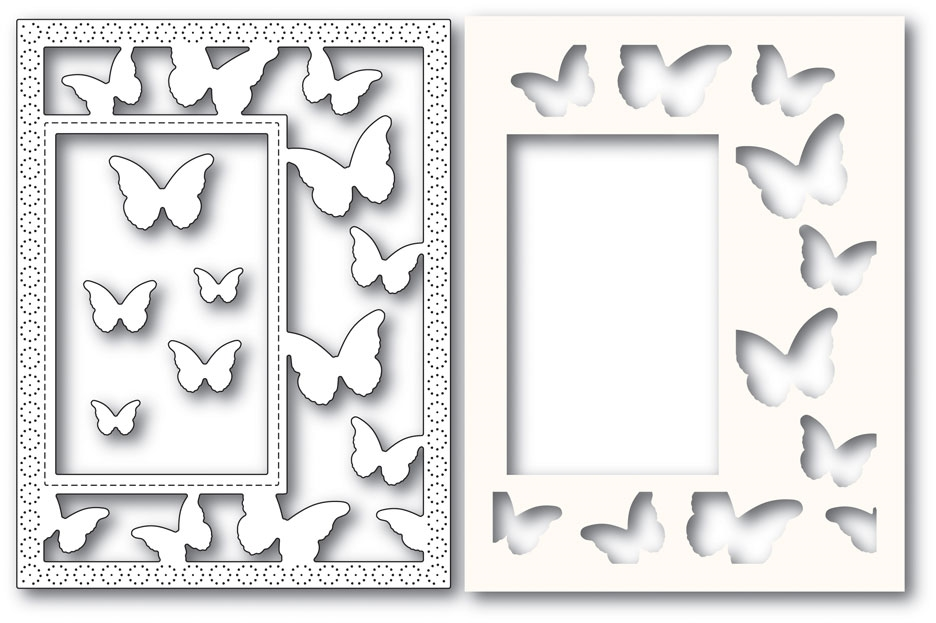 Poppy Stamps BEAUTIFUL BUTTERFLIES SIDEKICK FRAME Craft Dies and Stencil 2221 zoom image
