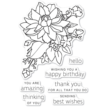 Poppy Stamps Clear Stamps PEONY BOUQUET cl483