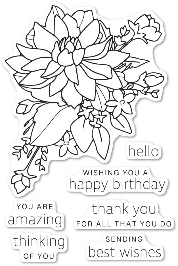 Poppy Stamps Clear Stamps PEONY BOUQUET cl483 zoom image