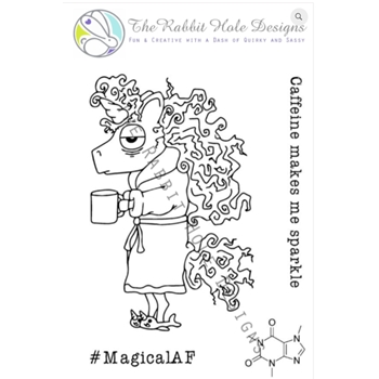 The Rabbit Hole Designs CAFFEINATED UNICORN Clear Stamps TRH 02