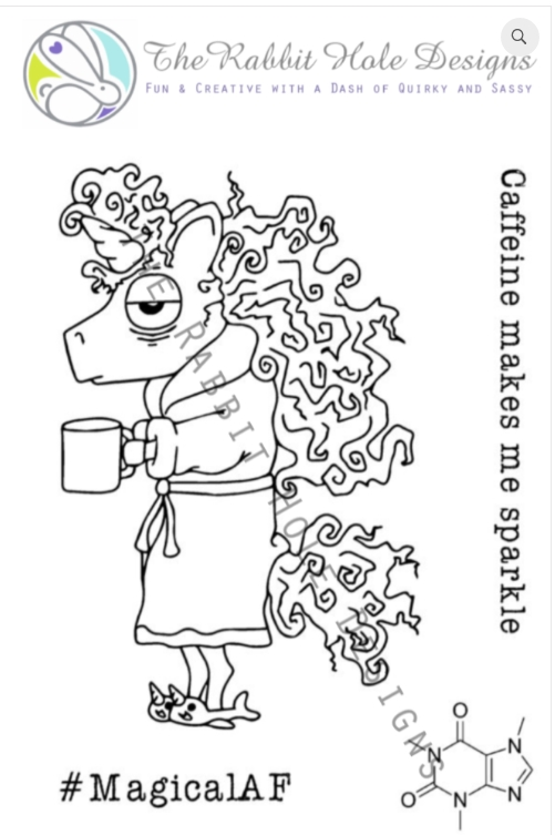 The Rabbit Hole Designs CAFFEINATED UNICORN Clear Stamps TRH 02 zoom image