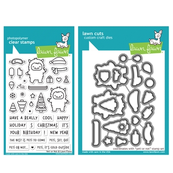 Lawn Fawn SET YETI OR NOT Clear Stamps and Dies HLFYON