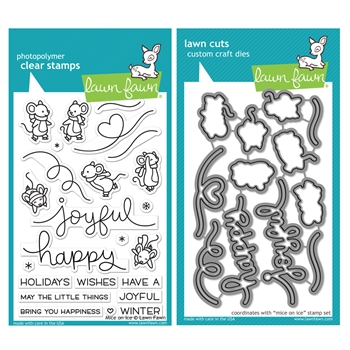 Lawn Fawn SET MICE ON ICE Clear Stamps and Dies HLFMOI