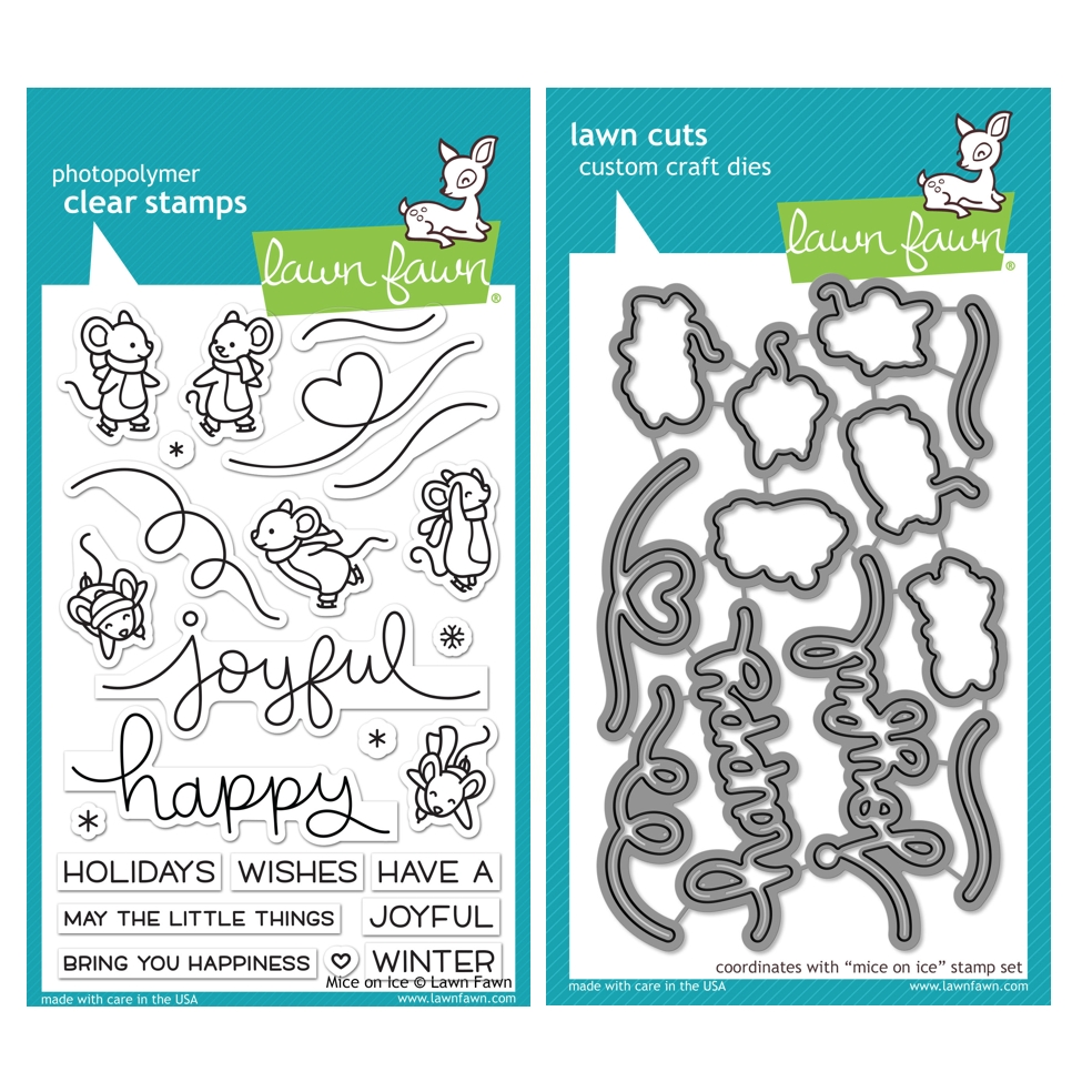 Lawn Fawn SET MICE ON ICE Clear Stamps and Dies HLFMOI zoom image