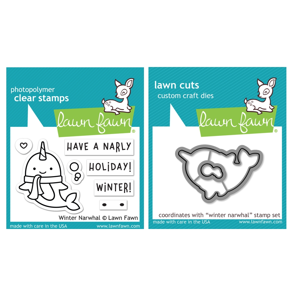 Lawn Fawn SET WINTER NARWHAL Clear Stamps and Dies HLFWN zoom image