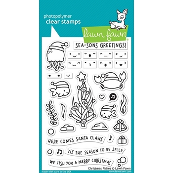 Lawn Fawn CHRISTMAS FISHES Clear Stamps LF2024