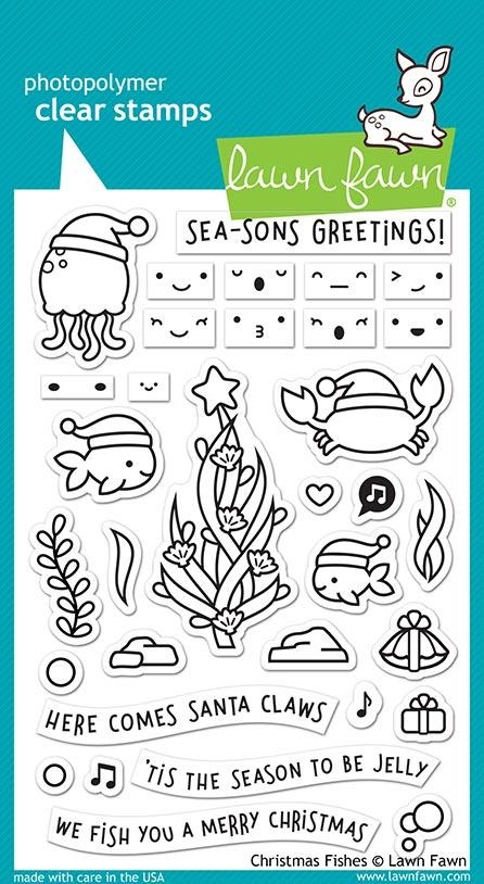 Lawn Fawn CHRISTMAS FISHES Clear Stamps LF2024 zoom image