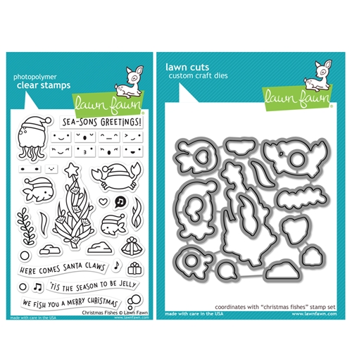 Lawn Fawn SET CHRISTMAS FISHES Clear Stamps and Dies HLFCF Preview Image