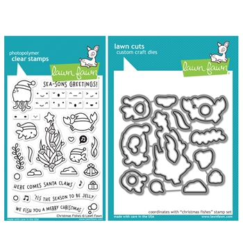 RESERVE Lawn Fawn SET CHRISTMAS FISHES Clear Stamps and Dies HLFCF