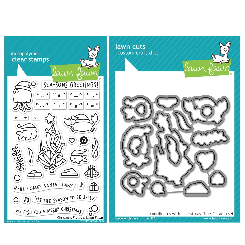 Lawn Fawn SET CHRISTMAS FISHES Clear Stamps and Dies HLFCF zoom image