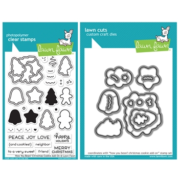 Lawn Fawn SET HOW YOU BEAN? CHRISTMAS COOKIE ADD-ON Clear Stamps and Dies HLFCCA