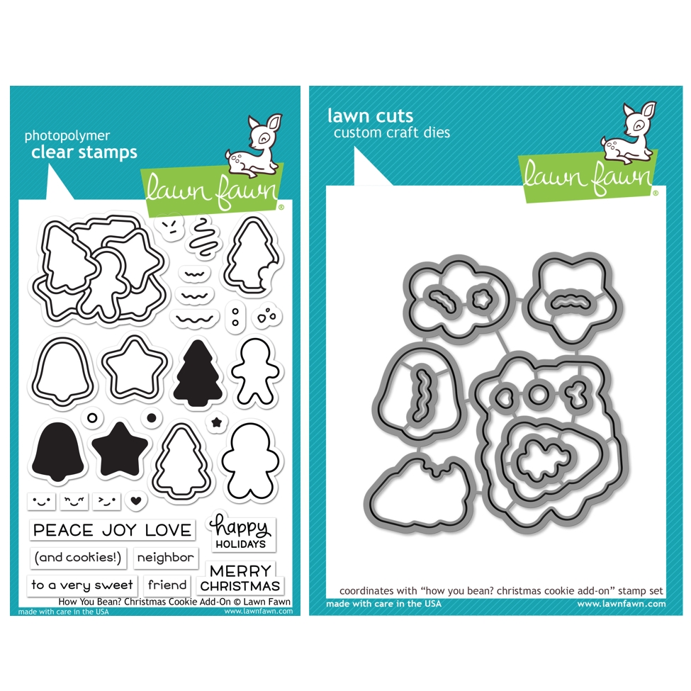 Lawn Fawn SET HOW YOU BEAN? CHRISTMAS COOKIE ADD-ON Clear Stamps and Dies HLFCCA zoom image