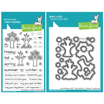 Lawn Fawn SET TREE BEFORE 'N AFTERS Clear Stamps and Dies HLFTBA