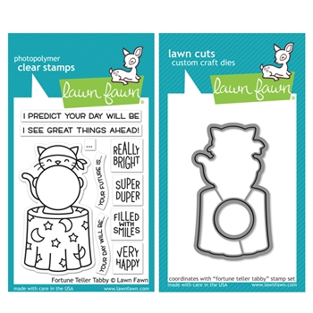 RESERVE Lawn Fawn SET FORTUNE TELLER TABBY Clear Stamps and Dies HLFFT