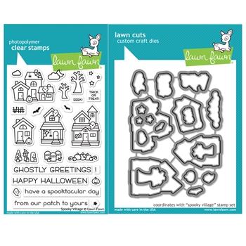 RESERVE Lawn Fawn SET SPOOKY VILLAGE Clear Stamps and Dies HLFSV