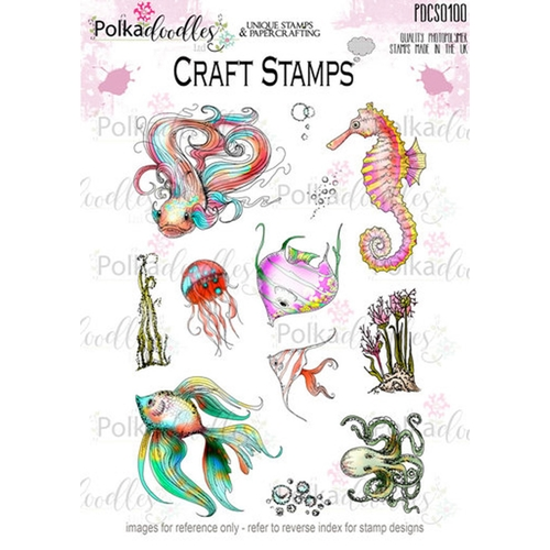 Polkadoodles TROPICAL UNDERWORLD Clear Stamp Set pdz7445 Preview Image