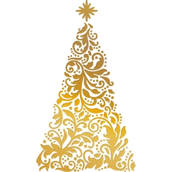Couture Creations ORNATE CHRISTMAS TREE Cut, Foil And Emboss Die Naughty Or Nice co726924