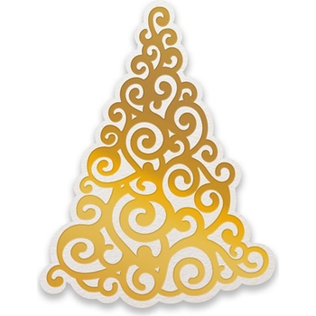 Couture Creations CURLING CHRISTMAS TREE Cut, Foil And Emboss Die Naughty Or Nice co726927