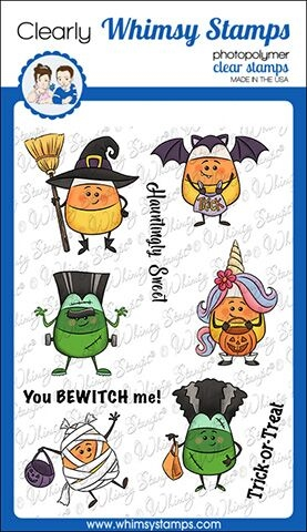 Whimsy Stamps CANDY CORN DRESS UP Clear Stamps KHB134  zoom image