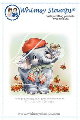 Whimsy Stamps ELLIE'S AUTUMN DAY Rubber Cling Stamp C1342 Preview Image