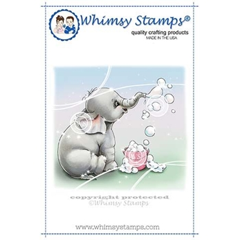 Whimsy Stamps ELLIE BLOWS BUBBLES Rubber Cling Stamp C1341