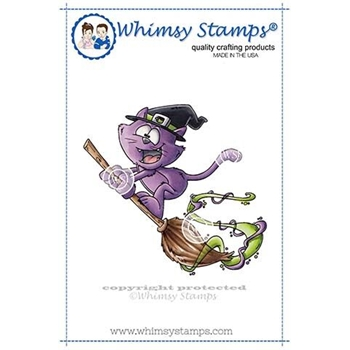 Whimsy Stamps FLYING CAT WITCH Rubber Cling Stamp DP1019