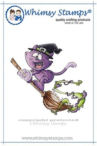 Whimsy Stamps FLYING CAT WITCH Rubber Cling Stamp DP1019 zoom image