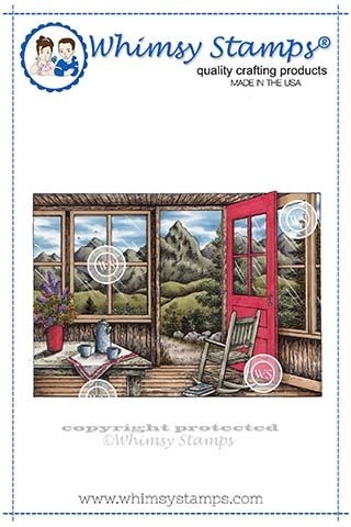 Whimsy Stamps MOUNTAIN CABIN Rubber Cling Stamp DA1122 Preview Image