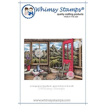 Whimsy Stamps MOUNTAIN CABIN Rubber Cling Stamp DA1122