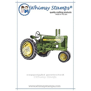 Whimsy Stamps FARM TRACTOR Rubber Cling Stamp DA1120