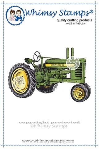 Whimsy Stamps FARM TRACTOR Rubber Cling Stamp DA1120 zoom image