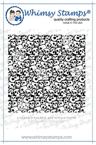 Whimsy Stamps GOTH SKULLS Background Cling Stamp DDB0028 Preview Image